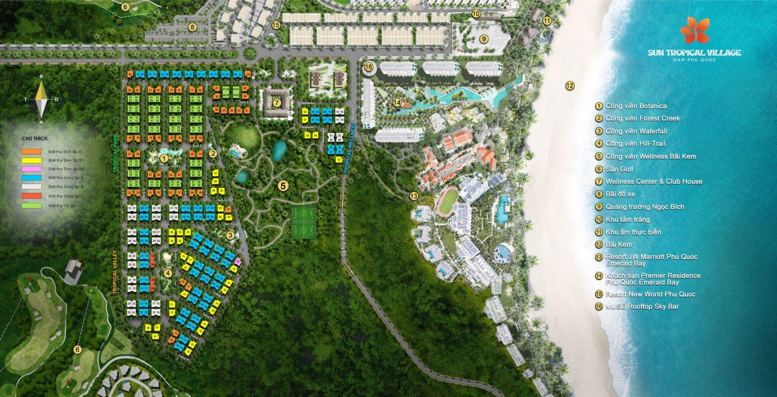 Mặt bằng mới Sun Tropical Village